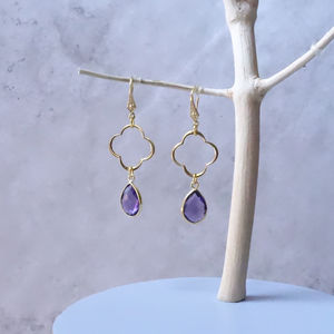 Amethyst February Birthstone Drop Earrings - earrings
