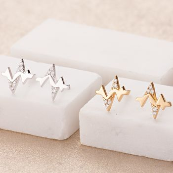 Gold and Silver Heartbeat Stud Earrings by Scream Pretty