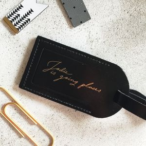 Leather 'Going Places' Luggage Tag