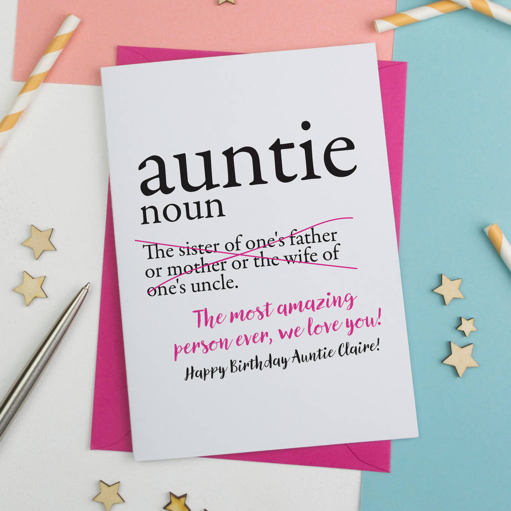Personalised aunty auntie or aunt birthday card by a is for auntie aunty or aunt birthday card for new aunt funny m4hsunfo