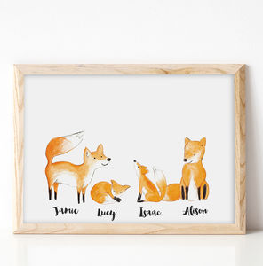 Personalised Family Fox Portrait Print - children's pictures & paintings