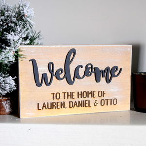Personalised Welcome Home Wooden Block Sign - decorative accessories