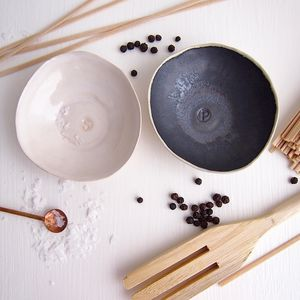 Handmade Pair Black + White Ceramic Salt + Pepper Dish - tableware