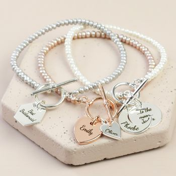Personalised Seed Pearl And Charm Toggle Bracelet