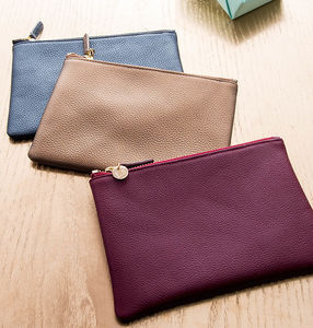 Personalised Leather Clutch Bag Or Cosmetic Purse - gifts for her