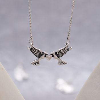 Vintage Style Silver Love Birds Necklace