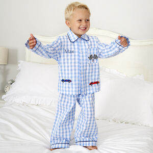 Personalised Boy's Racing Car Checked Pyjamas