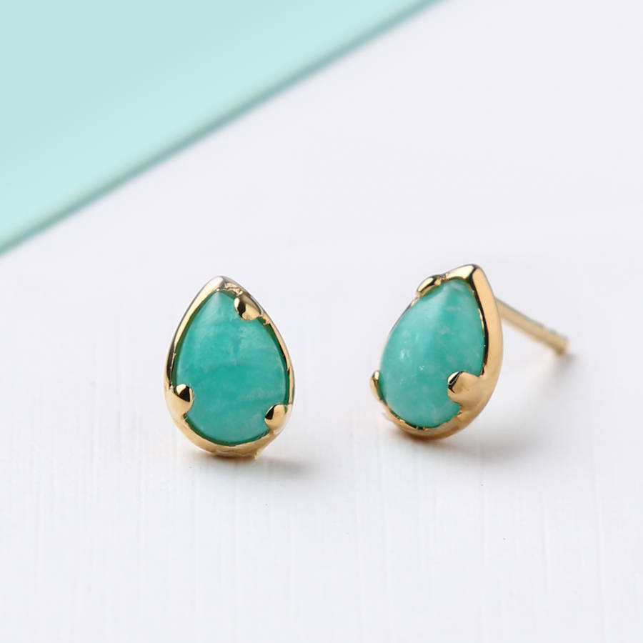 Semi Precious Amazonite Stud Earrings