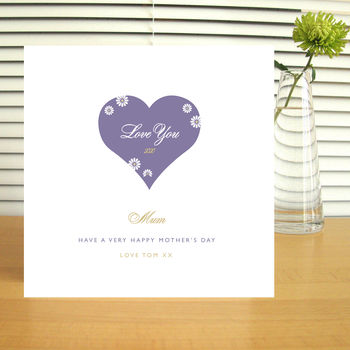 Personalised 'Mum' Love Heart Mother's Day Card