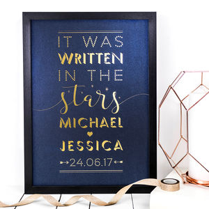 Personalised Wedding Gift; Written In The Stars Print - mixed media & collage