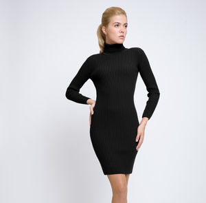 Black Ribbed Knit Roll Neck Merino Wool Dress