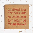 Christmas Time, Fizz Gin And Wine Square Card