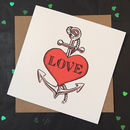 Anniversary Card With Tattoo Style Heart And Anchor