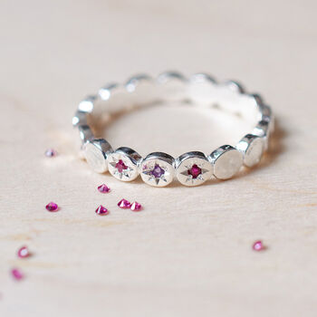 Birthstone Moon Dance Textured Circle Eternity Ring