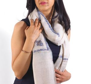 Luxurious Hand Embroidered Cashmere Scarf - pashminas & wraps