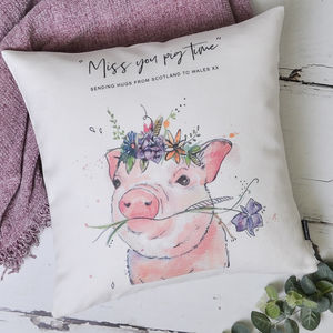 Watercolour Pig Personalised Cushion Cover