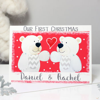 Personalised Bear Couple First Christmas Card