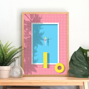Swimming Pool Art Print - drawings & illustrations