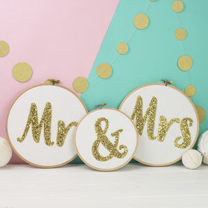 Mr And Mrs Set Of Three Embroidery Hoops - room decorations
