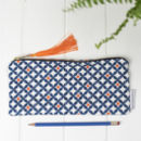 Safiya Pencil Case, Blue And Orange Geometric Pattern