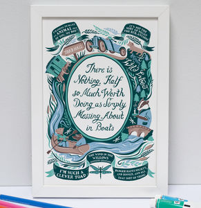 Wind In The Willows, Famous Quotes Print - posters & prints