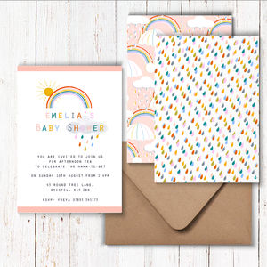Personalised Baby Shower Rainbow Invitations - invitations