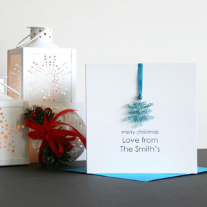 Personalised Merry Christmas Snowflake Card - personalised cards