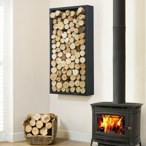 Contemporary Steel Log Carrier Holder - fireplace accessories