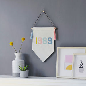 Personalised Birth Year Linen Pennant Flag