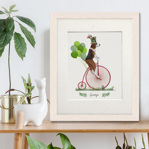 Personalised Beagle On Penny Farthing Print