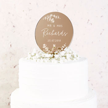 Botanical Leafy Wedding Cake Topper