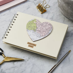 Personalised Vintage Map Heart Album - albums & guest books