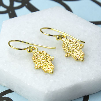 Gold Plated Sterling Silver Fatima Hand Earrings