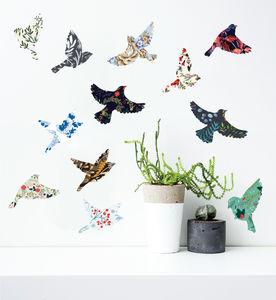 Vintage Winter Birds Wall Sticker Set - wall stickers
