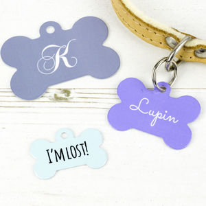 Personalised Name Pet Tag Bone Shaped - more