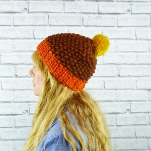 Colour Block Brown Bobble Hat
