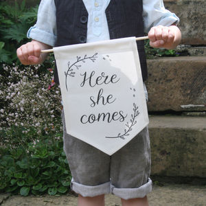 Here She Comes Page Boy Wedding Sign - hanging decorations