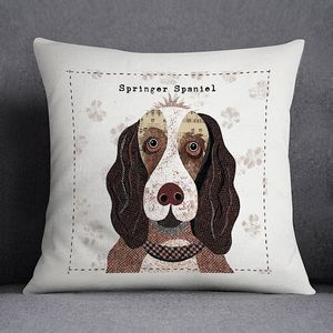 Springer Spaniel Personalised Dog Cushion Cover - bedroom