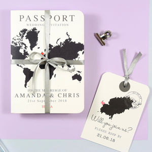 World Map Passport Wedding Invitation - invitations