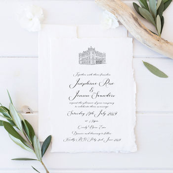 Personalised Hand Drawn Venue Wedding Invitation