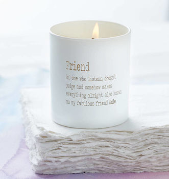 Personalised Friend Dictionary Definition Candle
