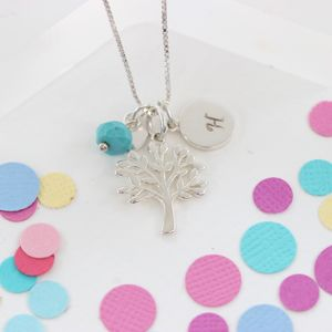 Mini Silver Tree Of Life Necklace With Birthstones - necklaces & pendants