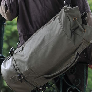 Olive Green Waxed Canvas Luggage Duffle Vegan Bag - bags & cases