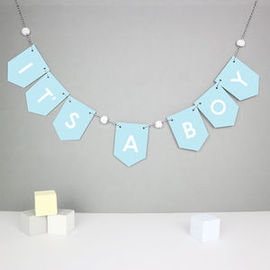 It's A Boy Baby Shower Bunting - announcement and gender reveal ideas