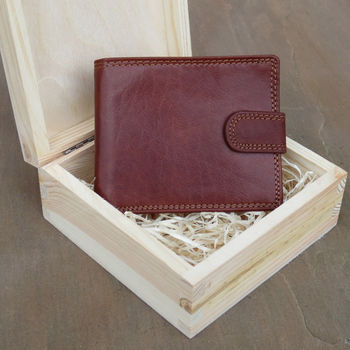 Handmade Rfid Leather Wallet In Wooden Box