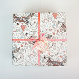 Gift Wrapping Paper Fox And Diamonds