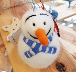 Needle Felt Snowman With Blue Scarf