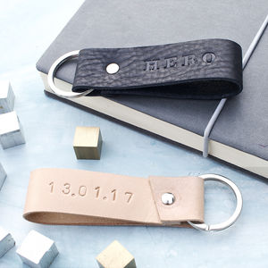 Personalised Black Or Natural Leather Keyring