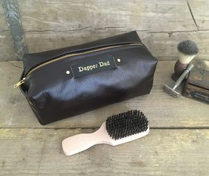 Personalised Glossy Brown Leather Wash Bag - sale