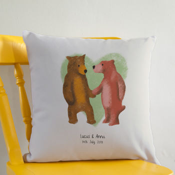 Personalised Bear Couple Cushion / Square Or Round
